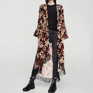 HOST ✅ MANGO Velvet Floral - Caftan Serena Long
